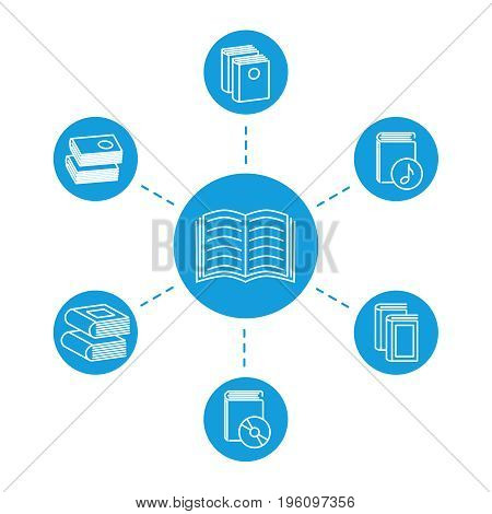 Reading concept - book line icons. Knowledge in school. Vector illustration education
