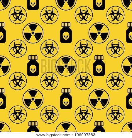 Danger seamless pattern on yellow background. Danger symbol yellow design, vector illustration