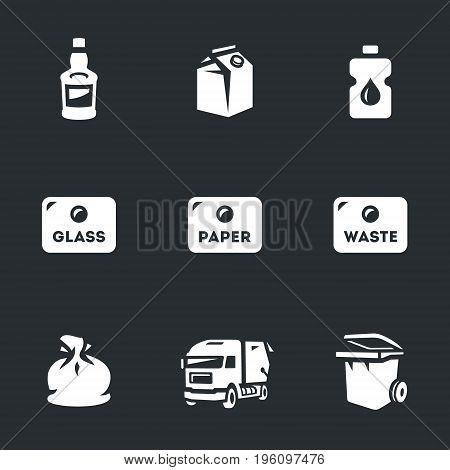 Glass, paper, plastic, sorting, garbage, garbage truck, garbage can.