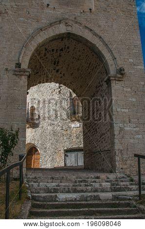 Tower with arch in the center of Monteleone di Spoleto