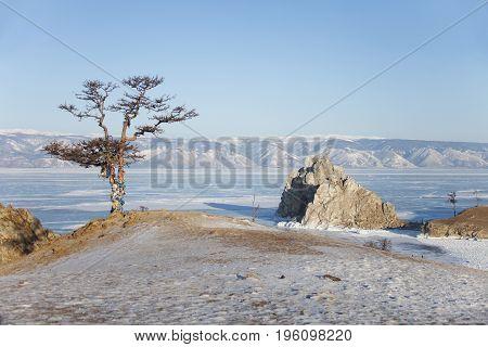 Rock Shamanka Landscape. Cape Burhan. Lake Baikal, Winter