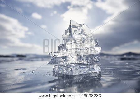 Ice Floes Built In A Pyramid. Lake Baikal. Winter