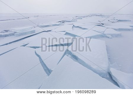 Baikal Lake, Cracks In Ice. Ice Floes. Winter