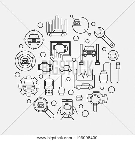 Automotive diagnostics round vector illustration. Car diagnostic concept sign
