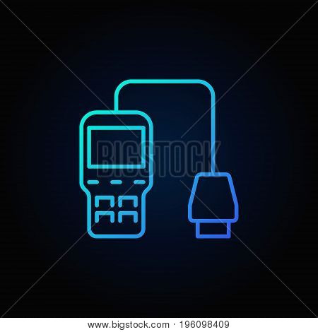 Blue car diagnostic scanner icon. Vector vehicle diagnostics concept linear sign or logo element on dark background