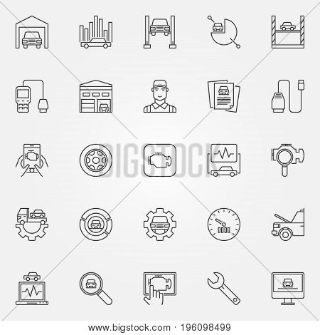 Car diagnostics icons set - vector automotive diagnostics concept signs. Car service symbols in thin line style