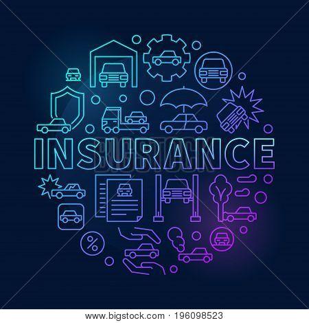 Car insurance round blue illustration - vector circular outline symbol style on dark background