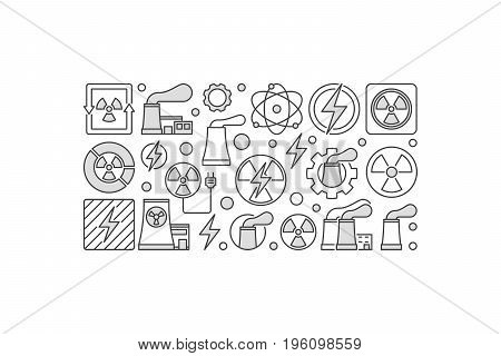 Nuclear power minimal illustration made with nuclear power plant and radiation icons on white background