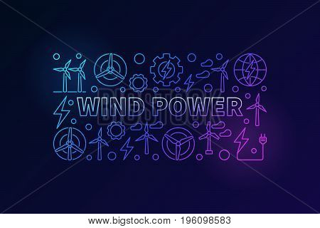 Wind power vector banner. Colorful energy concept illustration made with wind turbines outline icons
