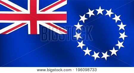 Flag of Cook Island with a little Waving Shading & Flag Colors separated layers - Vector Illustration