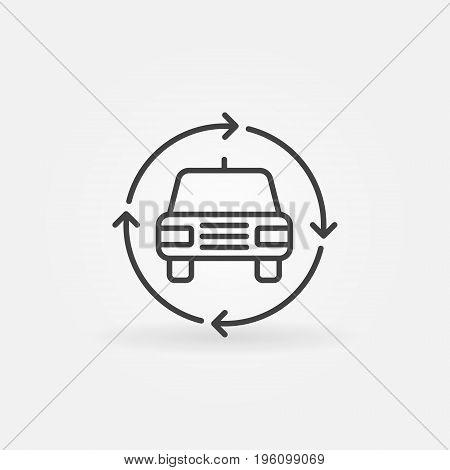 Car in circular arrows icon - vector car trade in concept symbol in thin line style