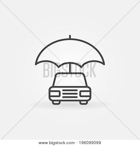 Car with umbrella icon - vector minimal auto insurance concept symbol or design element in thin line style