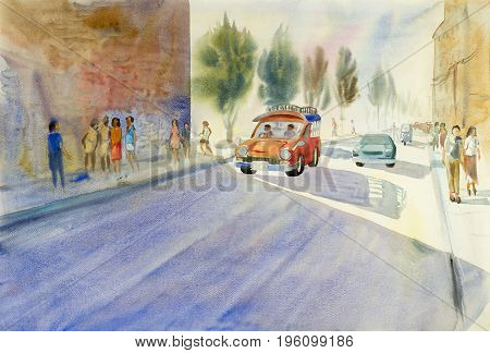 Watercolor landscape original painting colorful of small red bus on the street and city tourists chiang mai  in Thailand