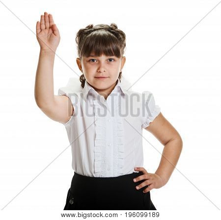 Portrait of smart little schoolgirl with raised hand ready to answer