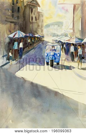 Watercolor landscape original painting colorful of tuk tuk taxi on road and city market tourists chiang mai and emotion in Thailand