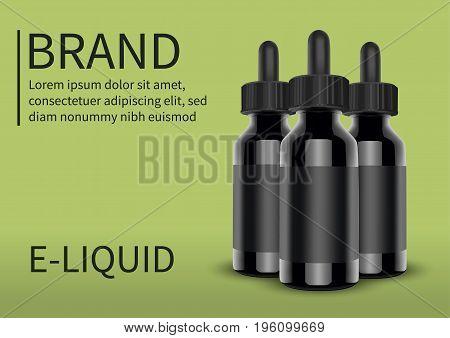 E cigarettes Liquid Bottle on green background. Vape. Vector.
