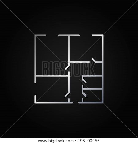 Floor plan minimal silver icon - vector colorful outline square symbol or logo element on dark background