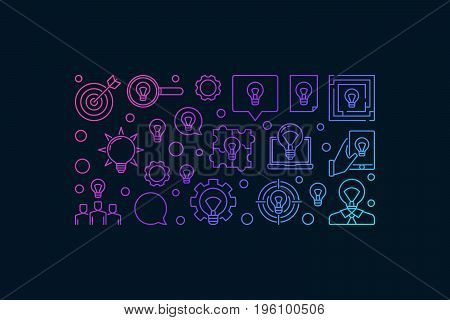 Solution and idea modern banner design - vector colorful creative ideas background on dark background