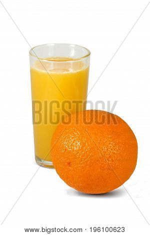 Isolated drink. Glass of orange juice and orange fruit isolated on white background