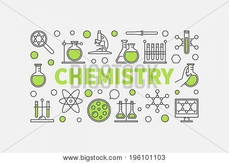 Modern chemistry illustration. Vector creative science background made with green word CHEMISTRY and chemical signs on white background