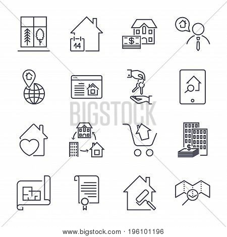Real Estate Line Icons. Icon Set With Editable Stroke
