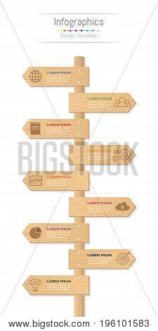 Infographic design elements for your business data with 9 options parts steps timelines or processes. Wood sign concept Vector Illustration.