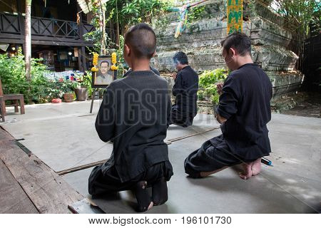 Bangkok THAILAND - July 14 2017: Unidentified actor pay respect for teacher image before show
