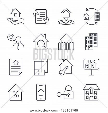 Real Estate, Building, House, Construction, Contract Icon And Sign Concept Vector Set For Infographi
