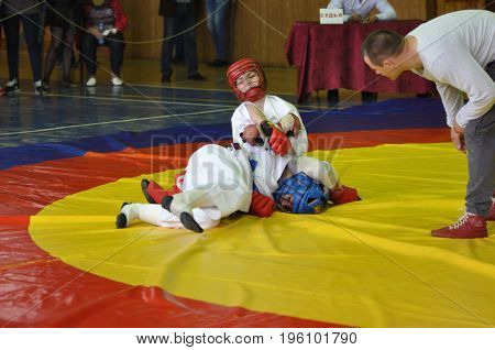 Orenburg, Russia - 14 May 2016: The Boys Compete In Hand-to-hand Fight.