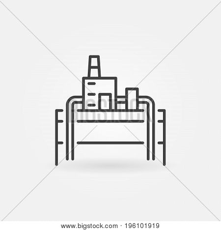 Geothermal power plant icon - vector minimal symbol or design element in thin line style