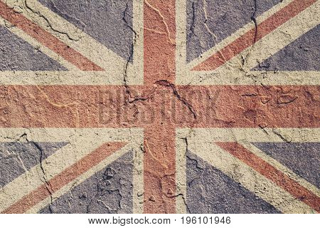 Great Britain Flag Painted On A Concrete Wall. Flag Of United Kingdom. Textured Abstract Background