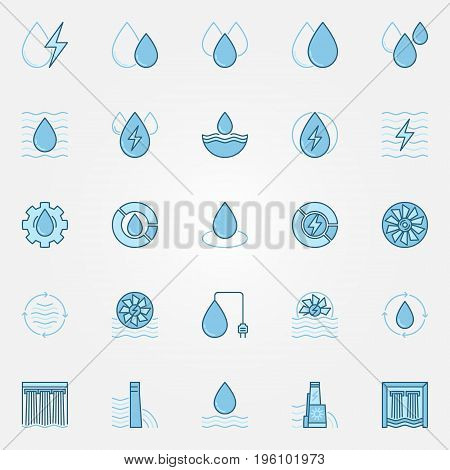 Hydropower blue icons set - vector water energy and hydro-electric creative colorful symbols or logo elements