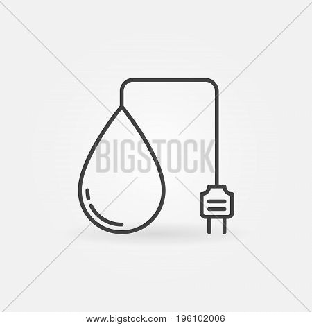 Hydropower outline icon - vector water energy concept sign