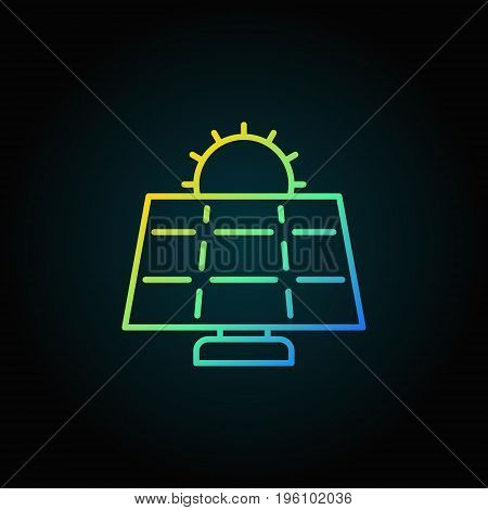Sun and solar panel colorful icon. Vector solar energy concept outline sign or logo element on dark background