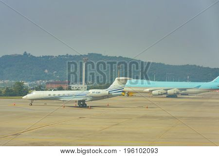 SEOUL, SOUTH KOREA - CIRCA MAY, 2017: aircraft at Gimpo Airport. Gimpo International Airport is located in the far western end of Seoul.