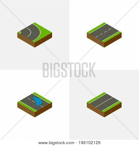 Isometric Way Set Of Asphalt, Plash, Plane And Other Vector Objects