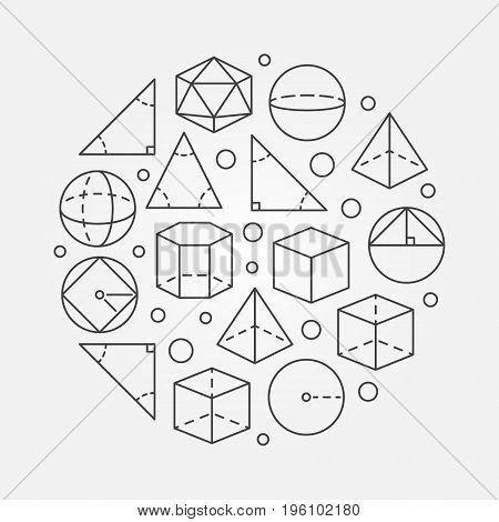 Trigonometry and geometry illustration - vector round outline science or education concept symbol