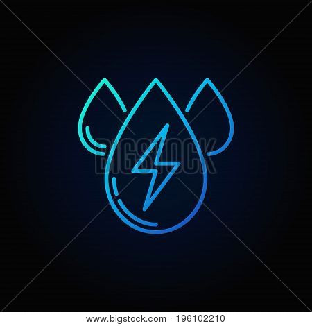 Water energy outline blue icon - vector three water drops colorful symbol or logo element on dark background