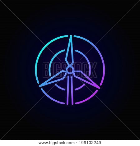 Wind turbine concept colorful icon - vector outline sign or logo element on dark background