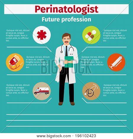 Future profession perinatologist infographic for students, vector illustration