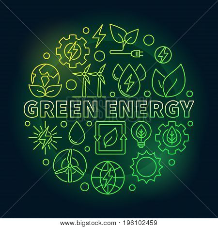 Green energy outline colorful illustration - vector round eco power concept symbol on dark background