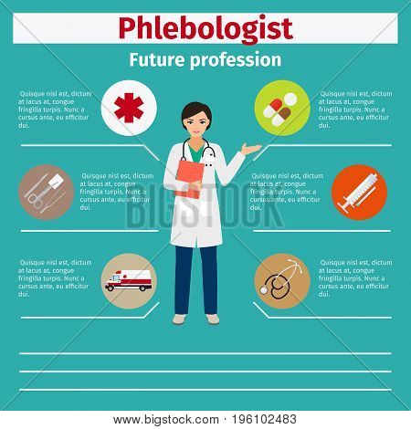 Future profession phlebologist infographic for students, vector illustration