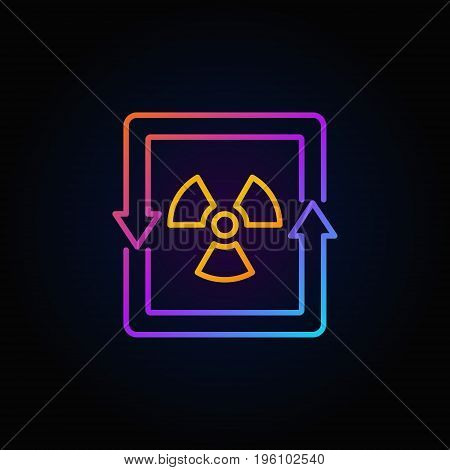 Nuclear energy concept colorful icon - vector outline radiation sign or logo element on dark background