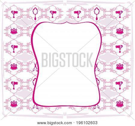 pink hairdressing barber tools frame , vector illustration