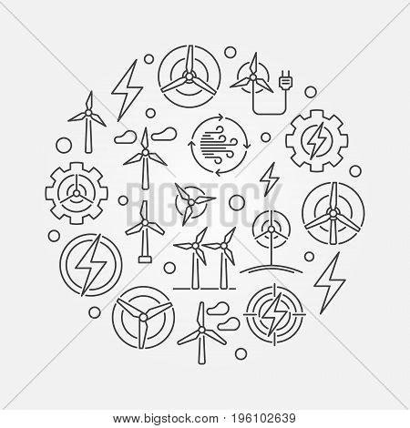 Wind energy circular illustration - vector round renewable energy concept symbol made with wind turbine icons in thin line style