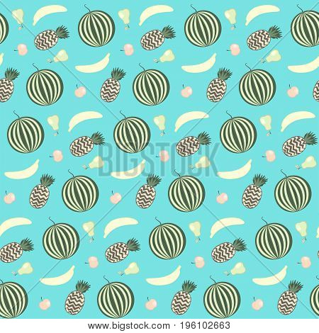 Nice contrast vector fruits seamless pattern on blue background summer texture with watermelon apple banana pineapple pear for textile wrapping paper cover surface design background