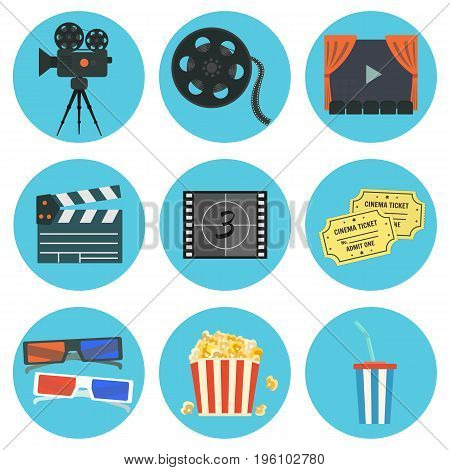 Nice flat vector cinematography elements on blue background set for your design. Film production symbols including colorful camera clapper tape bobbin screen tickets popcorn cup and glasses