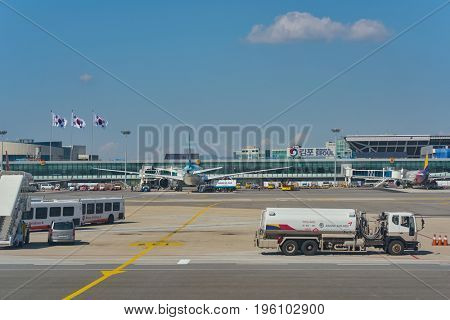 SEOUL, SOUTH KOREA - CIRCA MAY, 2017: Gimpo Airport at daytime. Gimpo International Airport is located in the far western end of Seoul.