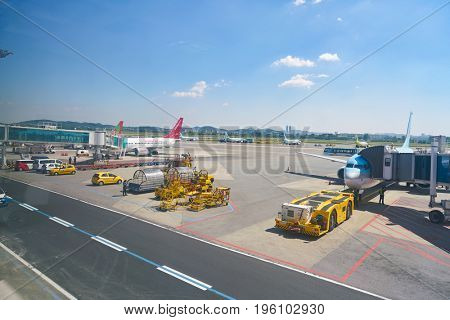 SEOUL, SOUTH KOREA - CIRCA MAY, 2017: a commercial aircraft on the tarmac at Gimpo Airport Domestic Terminal. Gimpo International Airport is located in the far western end of Seoul.