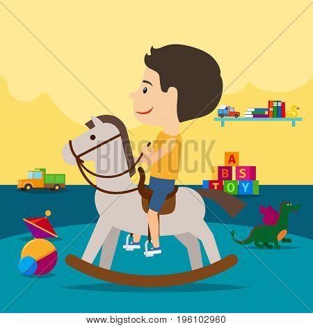 A boy is riding a toy horse surrounded by toys in kindergarten. Vector illustration
